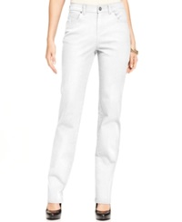 Style And Co. Straight Leg Tummy Control Jeans Colored Wash Bright White