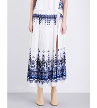 Sacai Geometric Print Woven Skirt Off White