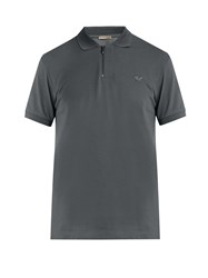 Bottega Veneta Logo Embroidered Cotton Pique Polo Shirt Charcoal