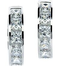 Carat Princess Channel 9Ct White Gold 1.5Ct Solitaire Hoops