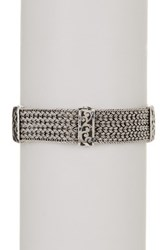 Lois Hill Sterling Silver Medium Thai Weave Cutout Station Bracelet Metallic