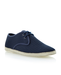 Dune Fennton Lace Up Canvas Mesh Espadrilles Navy