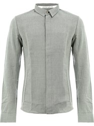 Individual Sentiments Concealed Buttons Shirt Cotton Wool Grey