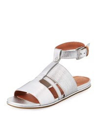 Gentle Souls Ophelia Easy Flat Metallic Sandal With Stretch Strap Silver