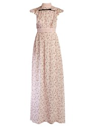 Giambattista Valli Flower Bud Print Ruffled Silk Georgette Gown Pink Multi