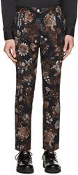 Versus Navy And Brown Floral Print Anthony Vaccarello Edition Trousers