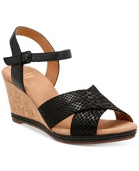 Clarks Collection Women's Helio Latitiude Wedge Sandals Women's Shoes Black