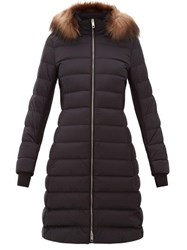 Burberry Newbridge Faux Fur Trimmed Quilted Down Coat Black