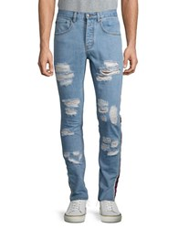 Laboratory Lt Man Distressed Side Striped Jeans Blue