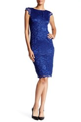 Abs Collection Lace Cap Sleeve Sheath Dress Blue