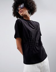 Asos White T Shirt With Origami Pleats Grey