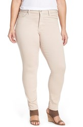Plus Size Women's Nydj 'Alina' Stretch Skinny Jeans Tan Memoir