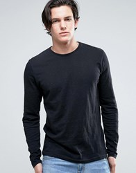 Solid Long Sleeve T Shirt In Black Black