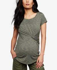 A Pea In The Pod Maternity Twist Front T Shirt Olive Spacedye
