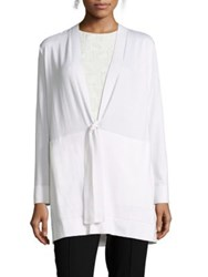 Lafayette 148 New York Silk And Cotton Tie Front Cardigan