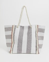 South Beach Striped Tote Bag With Rope Handles Multi