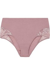 Hanro Enya Lace Trimmed Ribbed Wool And Silk Blend Briefs Lavender