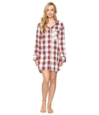 Bedhead Long Sleeve Classic Nightshirt Red Winter Plaid Women's Pajama