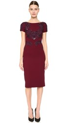 Reem Acra Sheath Dress With Embroidered Detail Wine Navy