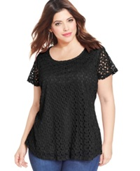 Ing Plus Size Short Sleeve Crochet Top