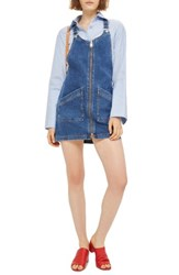 Topshop Women's Denim Pinafore Dress Mid Denim