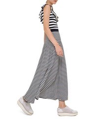 Akris Punto Striped Maxi Skirt Navy Cream Navy Cream