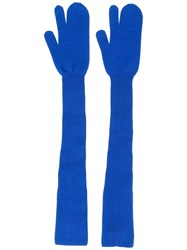Maison Martin Margiela Long Knitted Gloves Blue
