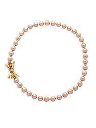 Miriam Haskell 8Mm Faux Pearl Bow Necklace Gold