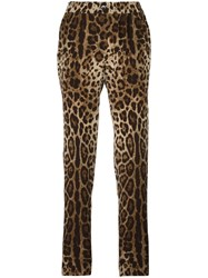 Dolce And Gabbana Leopard Print Pyjama Style Pants Brown