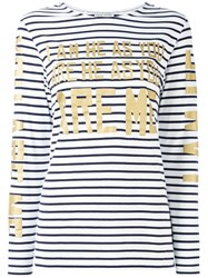 Each X Other Stripe Gold Lettered Top Women Cotton L White