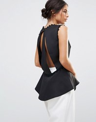 Amy Lynn Sleeveless Top With Lace Detail Black