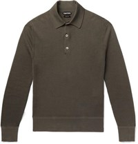 Tom Ford Slim Fit Waffle Knit Cotton Blend Polo Shirt Green