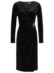 Jacques Vert Velvet Wrap Cocktail Dress Black