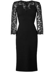 Ermanno Scervino Lace Sleeve Mid Length Dress Black