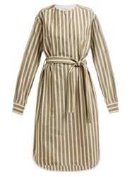 Golden Goose Deluxe Brand Belted Striped Cotton Blend Dress Cream Stripe