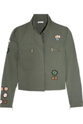 Tomas Maier Appliqued Cotton Blend Poplin Jacket Army Green