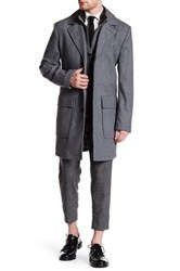 Cole Haan Genuine Leather Trimmed Faux Fur Collar Convertible Coat Gray