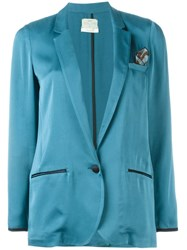 Forte Forte One Button Satin Blazer Blue