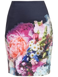 Ted Baker Karyce Focus Bouquet Pencil Skirt Dark Blue