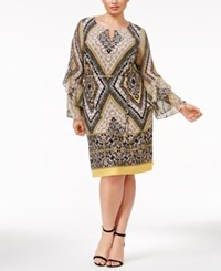 Inc International Concepts Plus Size Printed Bell Sleeve Sheath Dress Only At Macy's Gold Sandstorm