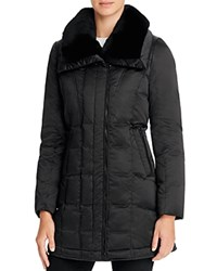 Trina Turk Adrianna Rabbit Fur Trim Down Coat Black