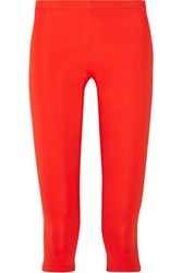 Theory Tia Cropped Stretch Jersey Leggings Tomato Red