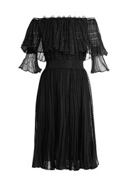 Alexander Mcqueen Off The Shoulder Ruffle Trimmed Ladder Lace Dress Black