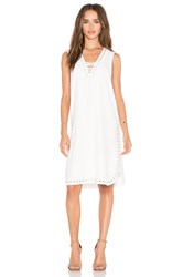 Derek Lam Grommet Embroidery Lace Up Tank Dress White