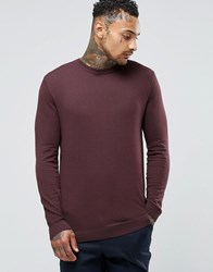 Asos Cotton Crew Neck Jumper In Plum Plum Red