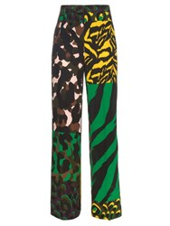 Versace Camouflage Print Wide Leg Silk Trousers Green Multi