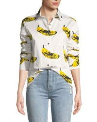 Libertine Long Sleeve Banana Print Blouse White Pattern