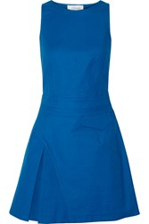 10 Crosby By Derek Lam Pleated Cotton Blend Mini Dress Blue