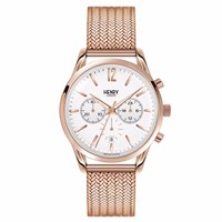 Henry London 39 Mm Unisex Richmond Chronograph Stainless Steel Bracelet Watch White Rose Gold