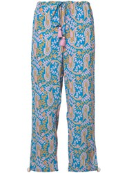 Figue Paisley Print Cropped Trousers Blue